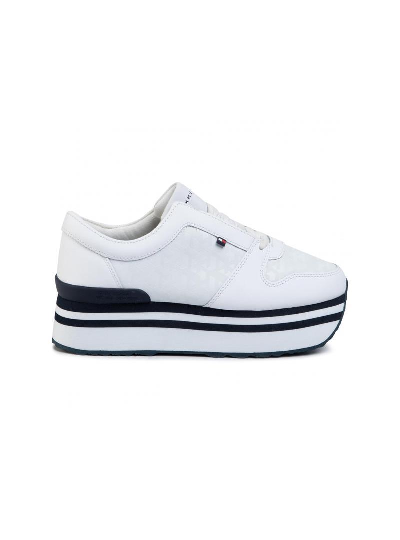 SNEAKERS IN JAQUARD PLATFORM TOMMY HILFIGER   Sneakers   FW0FW04680YBSWHITE