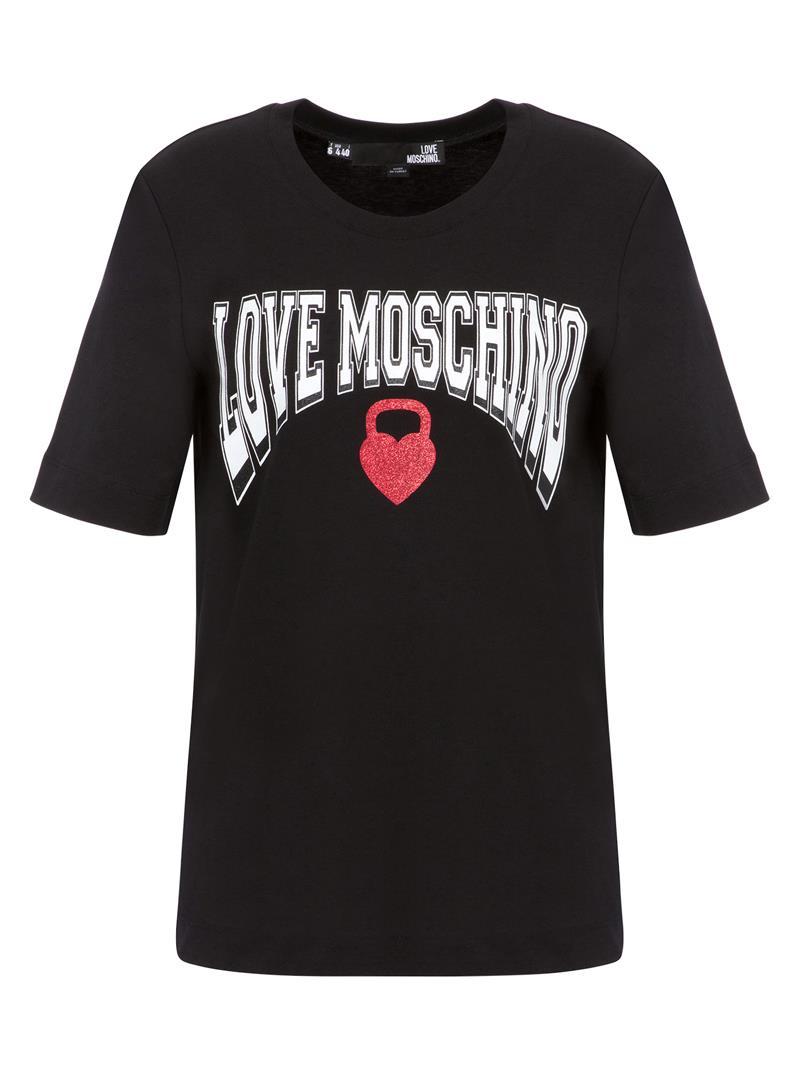T-SHIRT IN JERSEY KETTLEBELL HEART LOVE MOSCHINO | T-shirt | W4F152HM3876C74BLACK