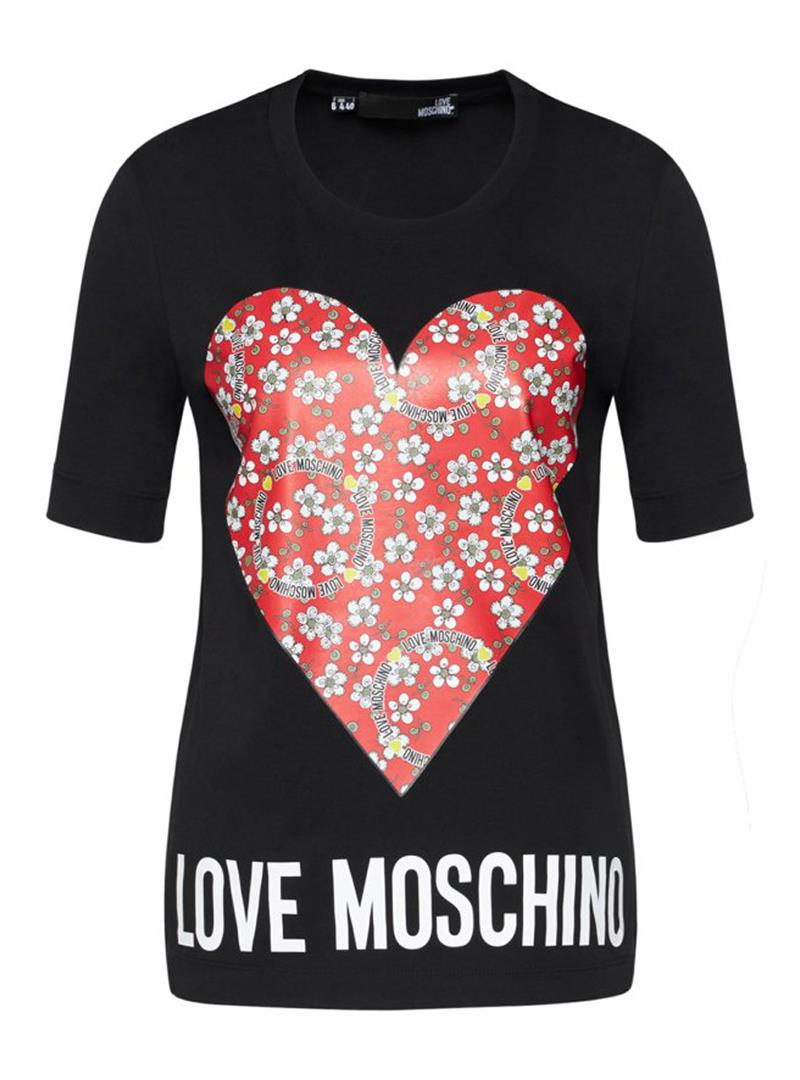 T-SHIRT IN JERSEY FLOWERY HEART LOVE MOSCHINO | T-shirt | W4F152LM3876C74BLACK