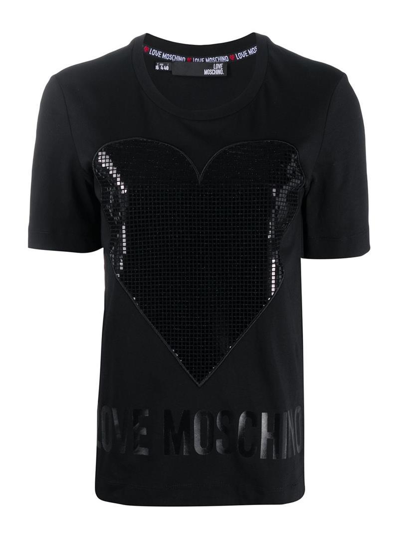 T-SHIRT CON STAMPA LOGO LOVE MOSCHINO | T-shirt | W4F152QM38764050LAMINANERO