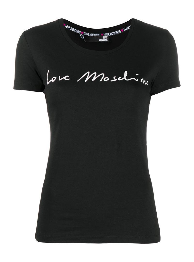 T-SHIRT GIROCOLLO STAMPA LOGO LOVE MOSCHINO | T-shirt | W4H1901E1951C74BLACK