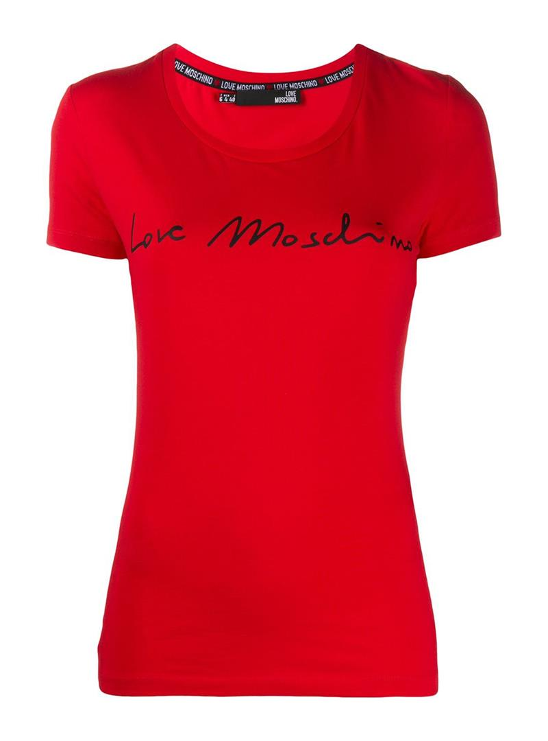 T-SHIRT GIROCOLLO STAMPA LOGO LOVE MOSCHINO | T-shirt | W4H1901E1951O81RED