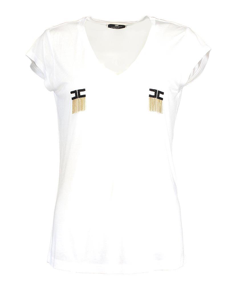 T-SHIRT MANICA CORTA CON LOGO E MICRO CATENE ELISABETTA FRANCHI   T-shirt   MA19711E2270GESSO