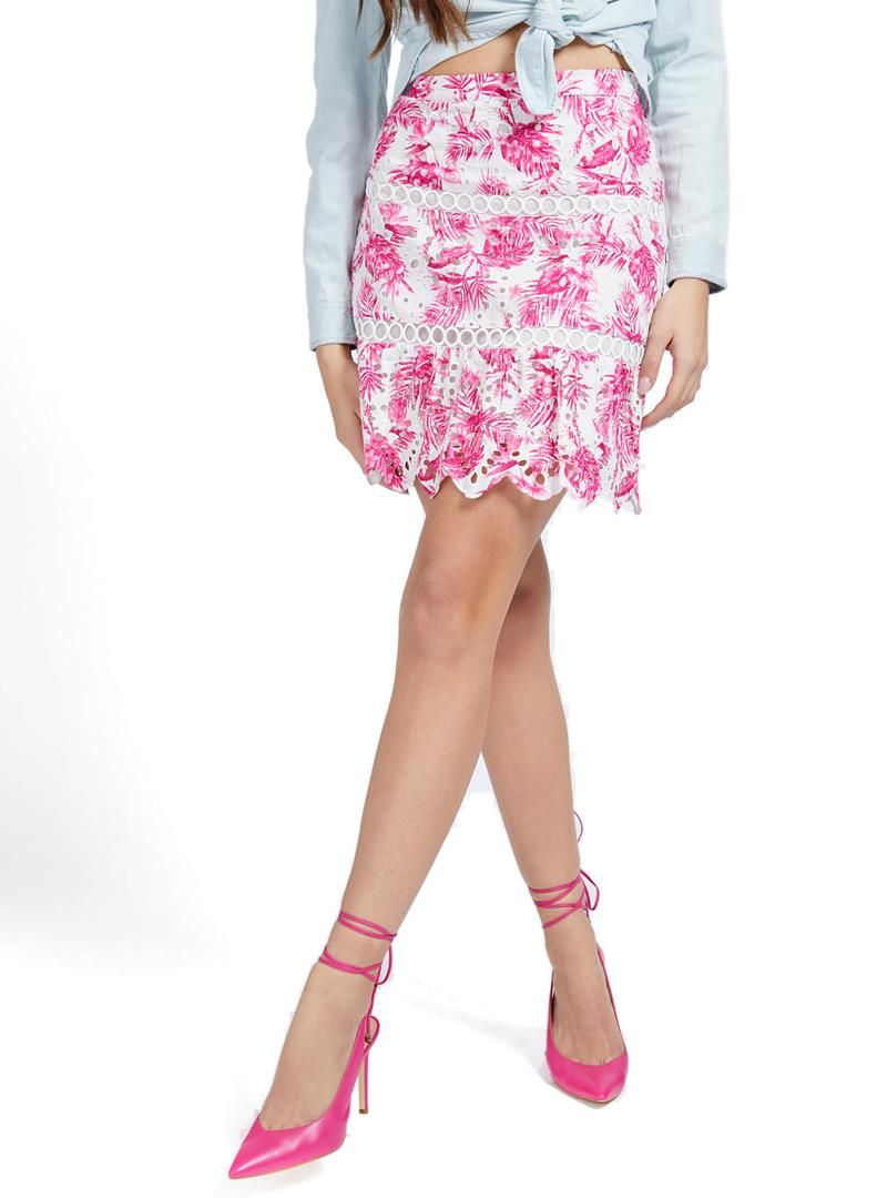 GONNA PIZZO SANGALLO STAMPA GUESS | Gonna | W1GD0YWDVB1P65CPINK