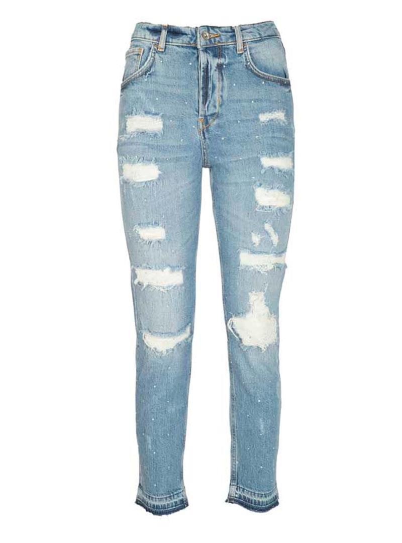 JEANS STRAIGHT FIT CON ABRASIONI LIU JO BLUE DENIM | Jeans | UA1019D434378101DENBLUE