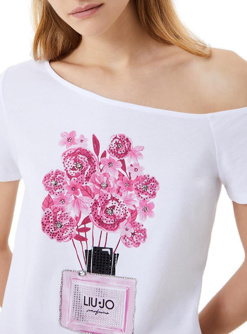 T-SHIRT CON STAMPA E APPLICAZIONI LIU JO JEANS | T-shirt | WA1271J5003T9586BIANCOOTTICO