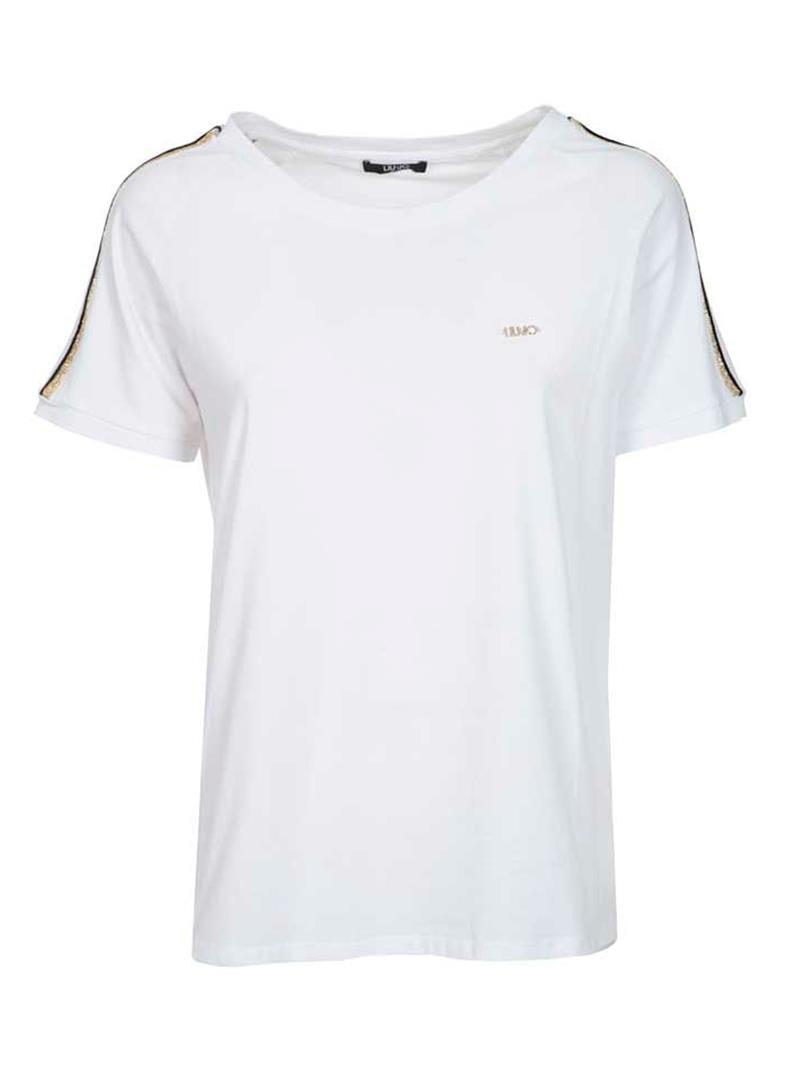 T-SHIRT CON MANICHE DI STRASS LIU JO SPORT | T-shirt | TA1146J500311110BIANCO