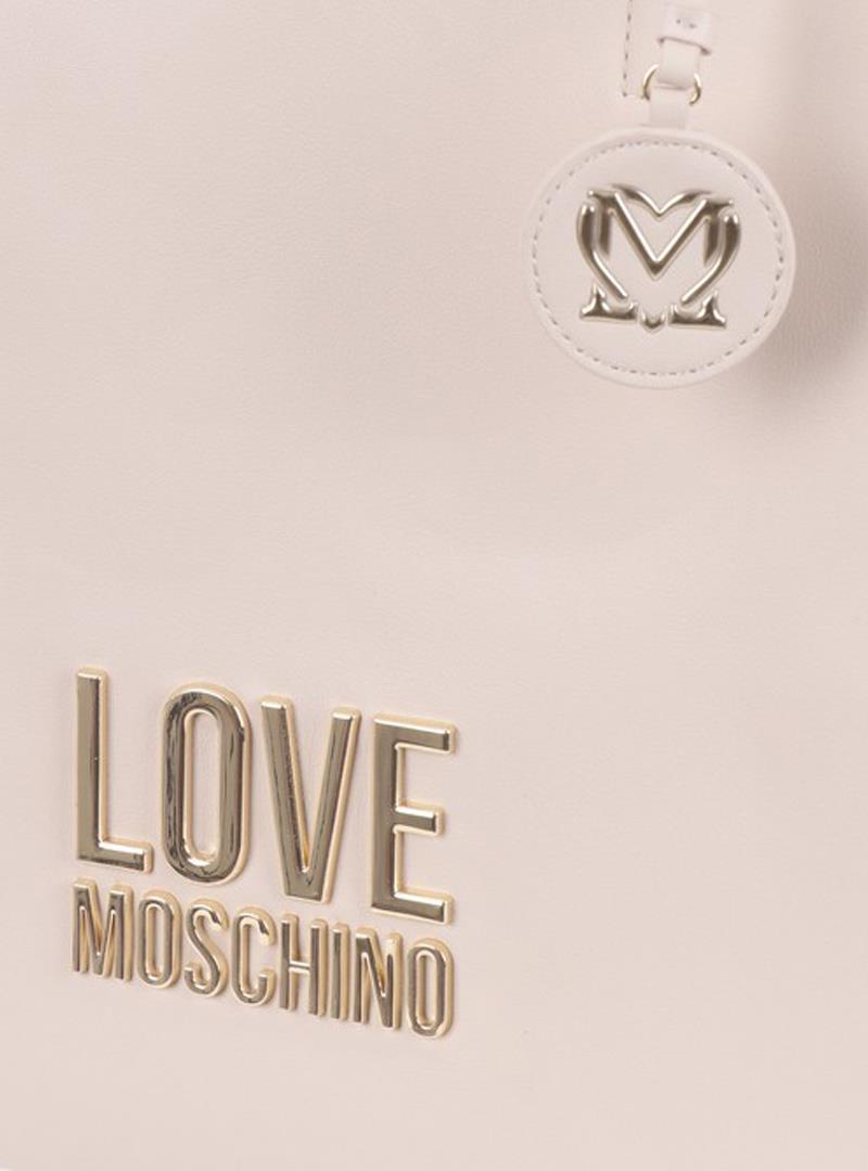 SHOPPER CON MANICI E LOGO IN METALLO LOVE MOSCHINO | Borsa | JC4100PP1CLJ010AAVORIO