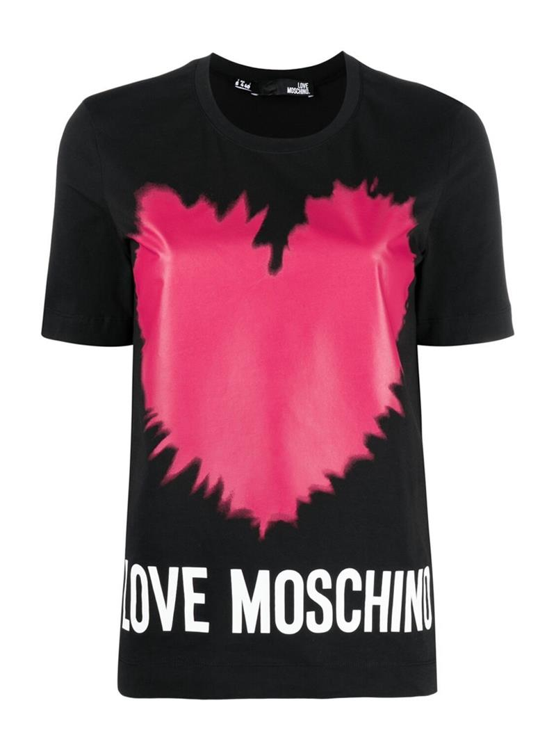 T-SHIRT CON STAMPA CUORE LOVE MOSCHINO | Maglia | W4F153AM3876C74BLACK