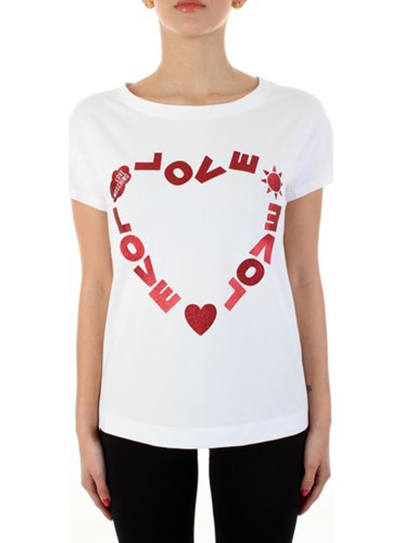 T-SHIRT STAMPA LOGO CUORE GLITTER LOVE MOSCHINO | Maglia | W4F302FE1951A00OPTICALWHITE