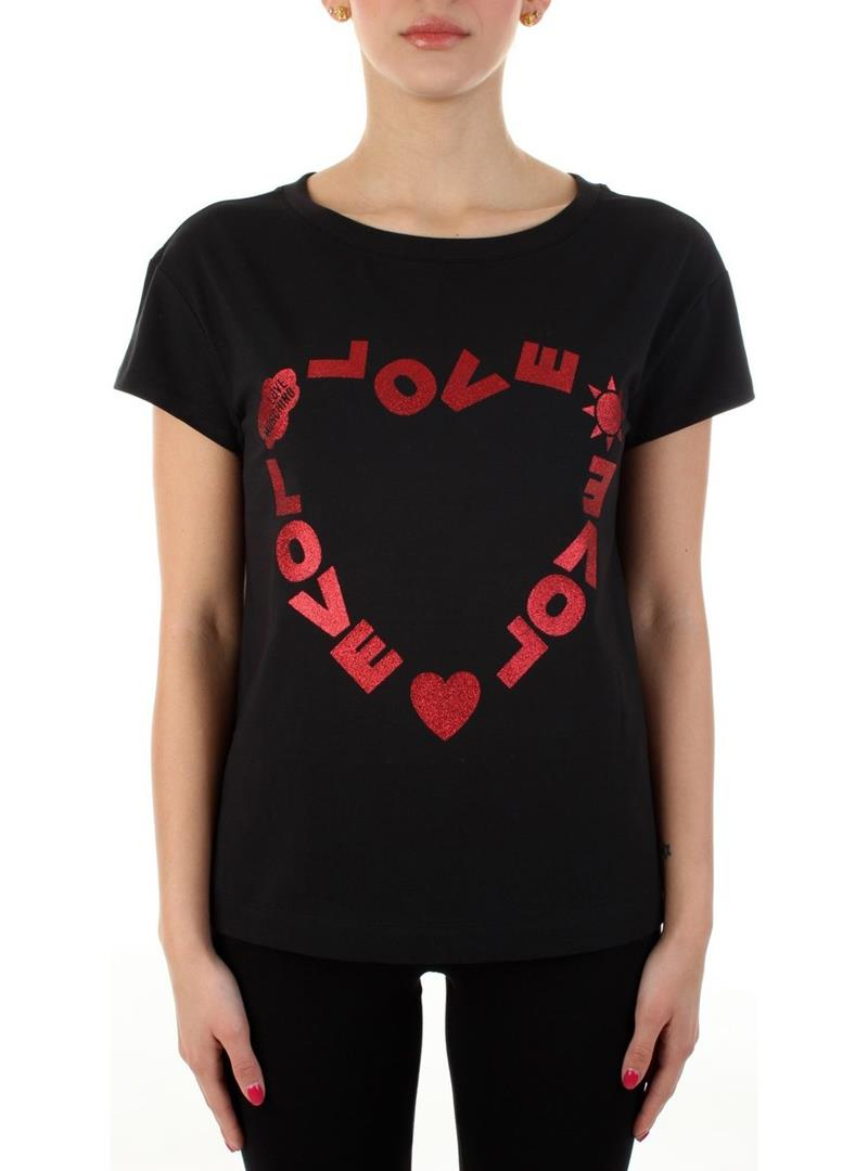 T-SHIRT STAMPA LOGO CUORE GLITTER LOVE MOSCHINO | Maglia | W4F302FE1951C74BLACK
