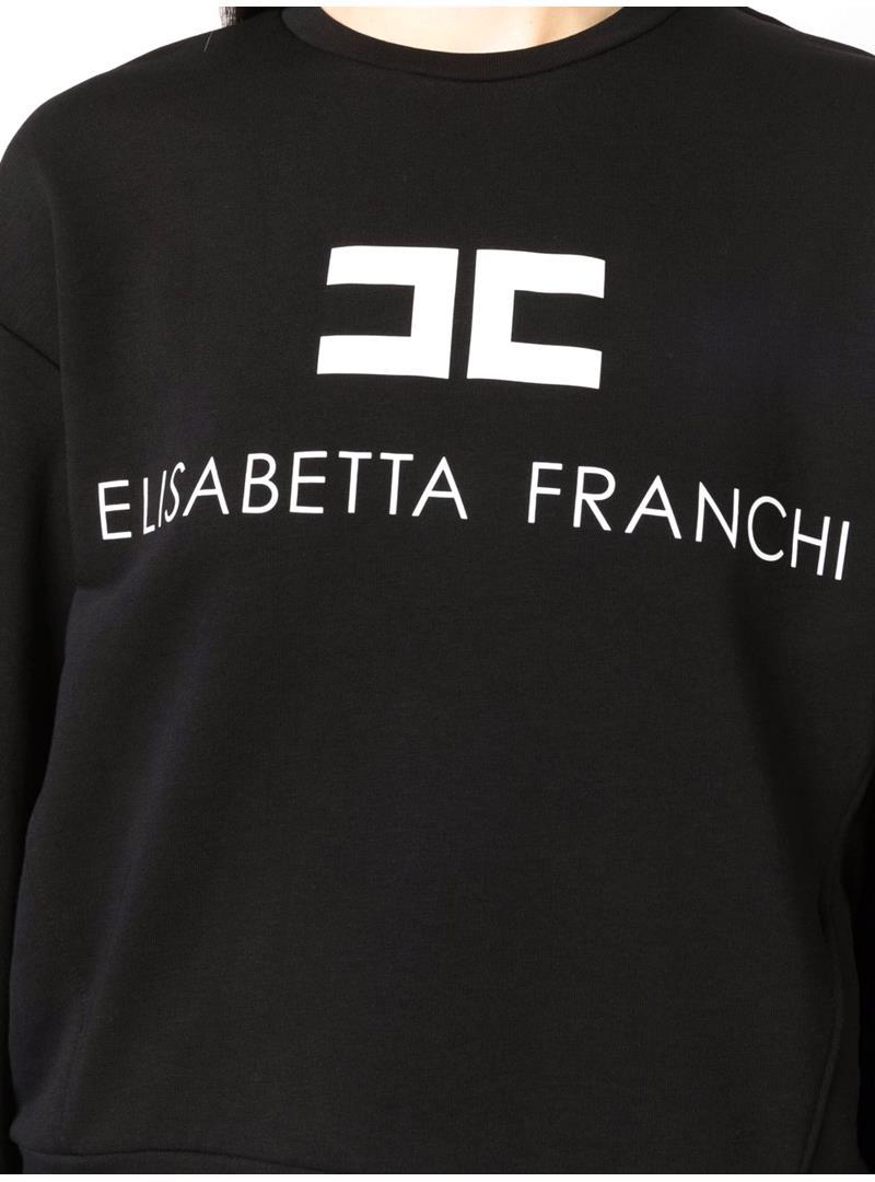 FELPA CON LOGO ELISABETTA FRANCHI | Felpa | MD00116E2685NEROBURRO