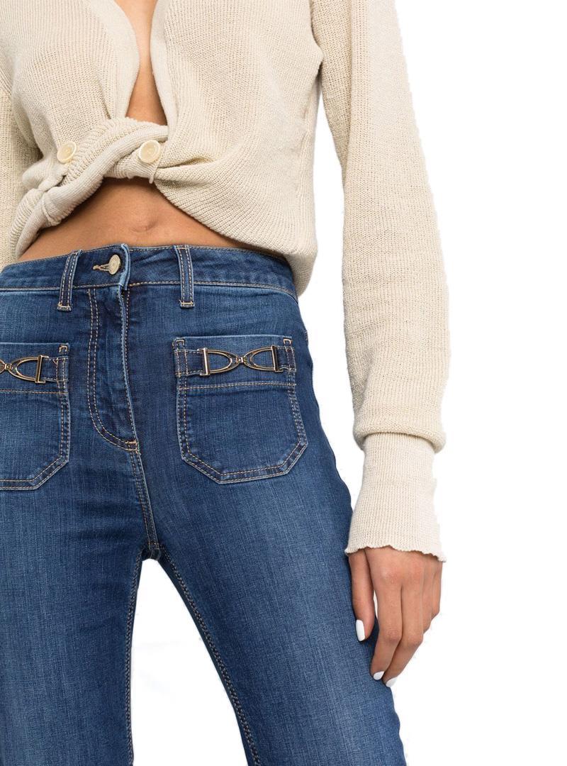 JEANS SVASATI CON VITA MEDIA ELISABETTA FRANCHI | Jeans | PJ17S16E2139BLUEVINTAGE