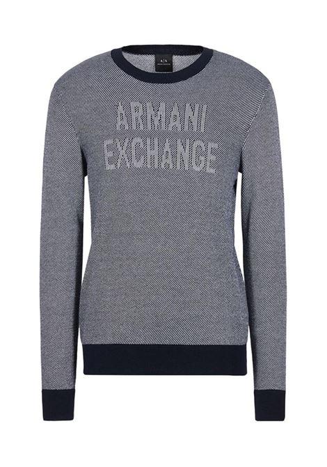 PULLOVER IN PURO COTONE AX ARMANI EXCHANGE | Maglia | 6GZM1HZMP5Z7586NAVYWHITE