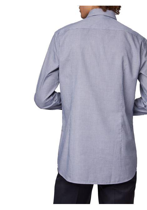 CAMICIA SLIM FIT IN TWILL DI COTONE CON MICROMOTIVO BOSS | Camicia | 50415599JANO404DARKBLUE