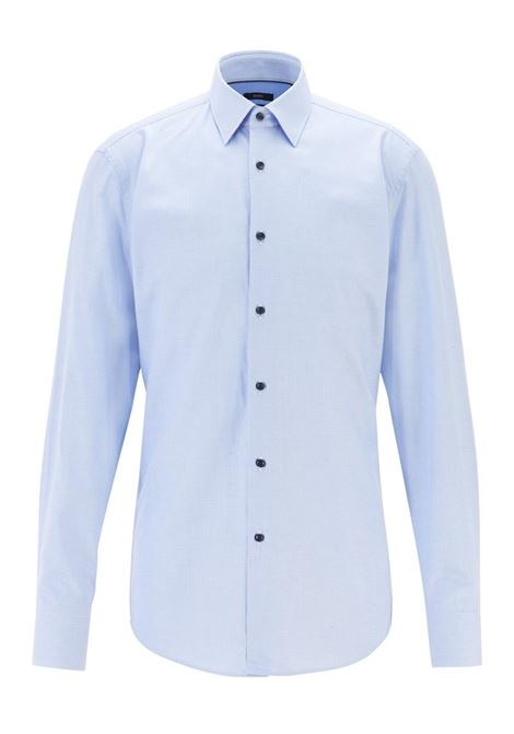 CAMICIA SLIM FIT IN TWILL DI COTONE CON MICROMOTIVO BOSS | Camicia | 50415599JANO452LIGHTPASTELBLUE