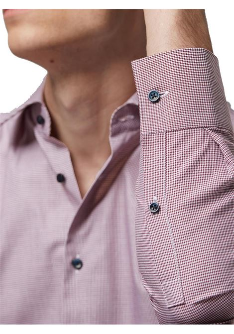 CAMICIA SLIM FIT IN TWILL DI COTONE CON MICROMOTIVO BOSS | Camicia | 50415599JANO604DARKRED