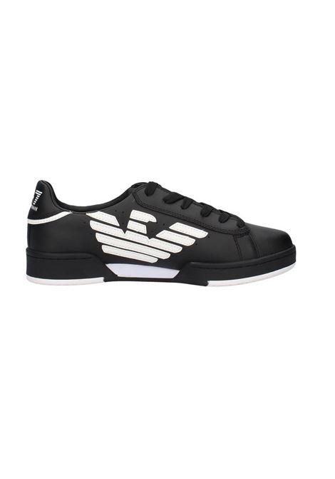SNEAKERS IN PELLE CON LOGO STAMPATO E.A. 7 | Sneakers | X8X043XK075A120BLACKWHITE