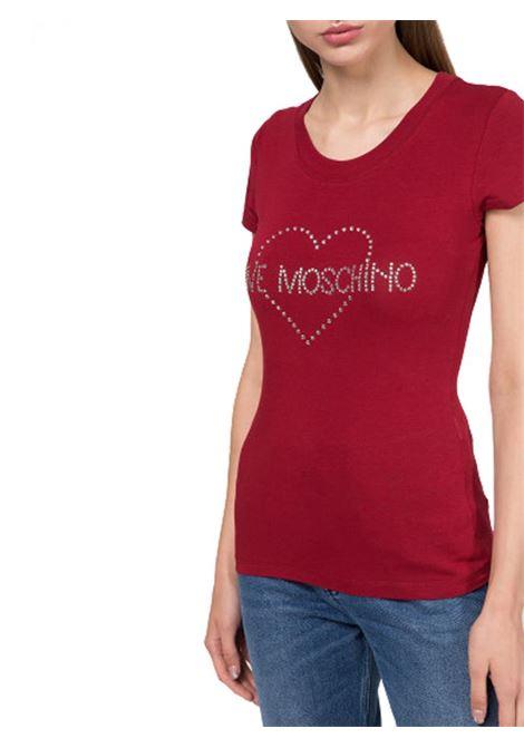 T-SHIRT IN COTONE ELASTICIZZATO LOVE MOSCHINO | Maglia | W4B194TE2065P32RED