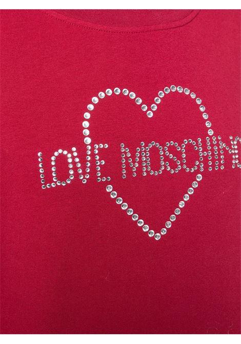 FELPA IN COTONE CON LOGO IN STRASS LOVE MOSCHINO | Felpa | W632203E1958C74BLACK