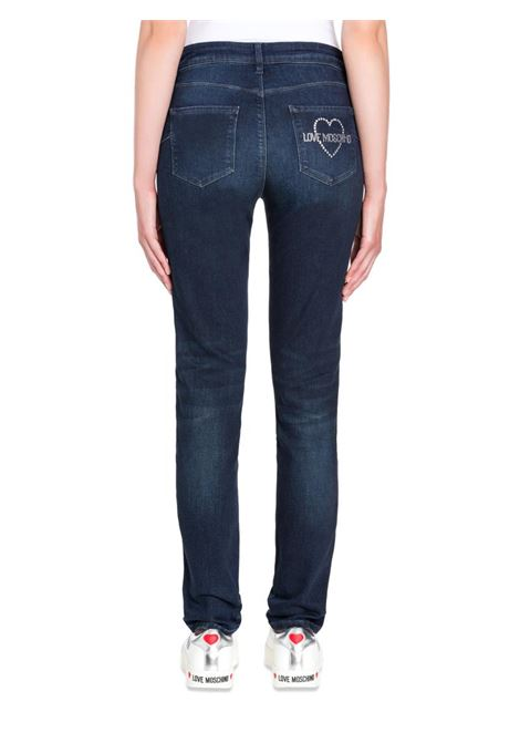 JEANS STRETCH CON LOGO IN STRASS LOVE MOSCHINO | Pantalone | WQ43003S2993197CDENIM