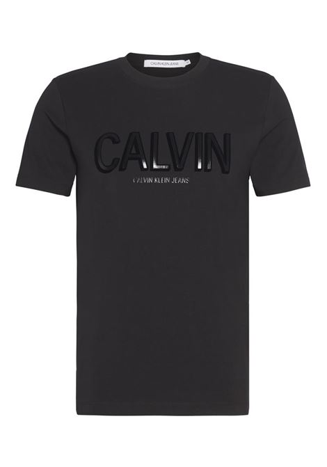 T-SHIRT FLOCK CALVIN ELASTICIZZATO CALVIN KLEIN JEANS | T-shirt | J30J314095BAECKBLACK