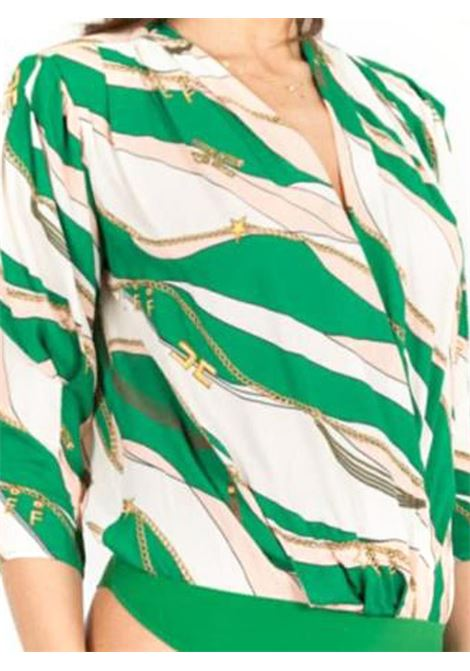 CAMICIA A BODY STAMPA FOULARD ELISABETTA FRANCHI | Camicia | CB11002E2X10MENTAROSA