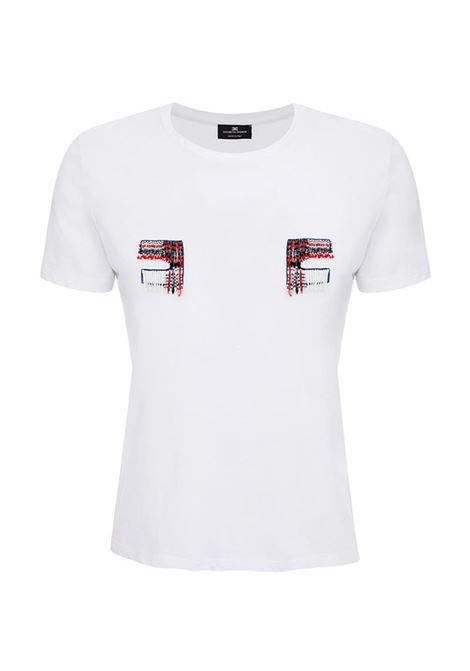 T-SHIRT RICAMATA CON LOGO ELISABETTA FRANCHI | T-shirt | MR02A01E2270GESSO