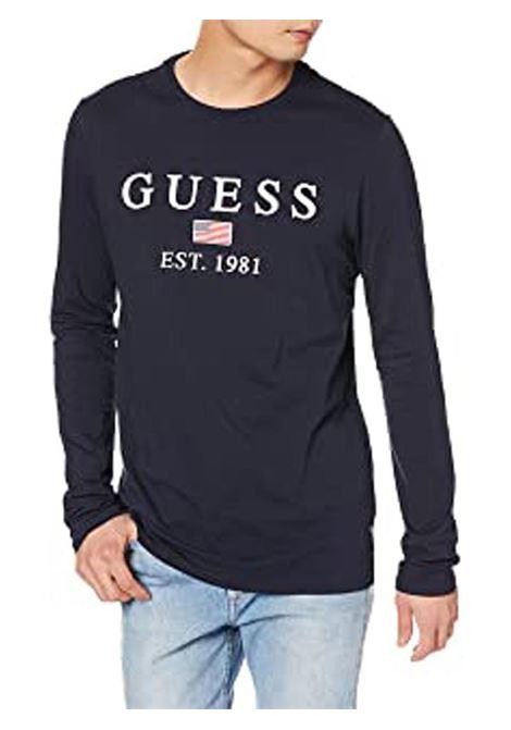 T-SHIRT CON LOGO FRONTALE GUESS | T-shirt | M01I70J1300G720BLEUNAVY