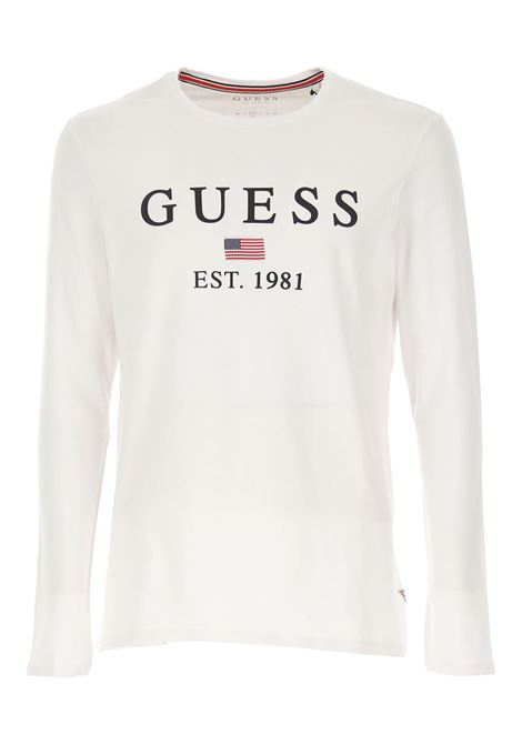 T-SHIRT CON LOGO FRONTALE GUESS | T-shirt | M01I70J1300TWHTBLANCPUR