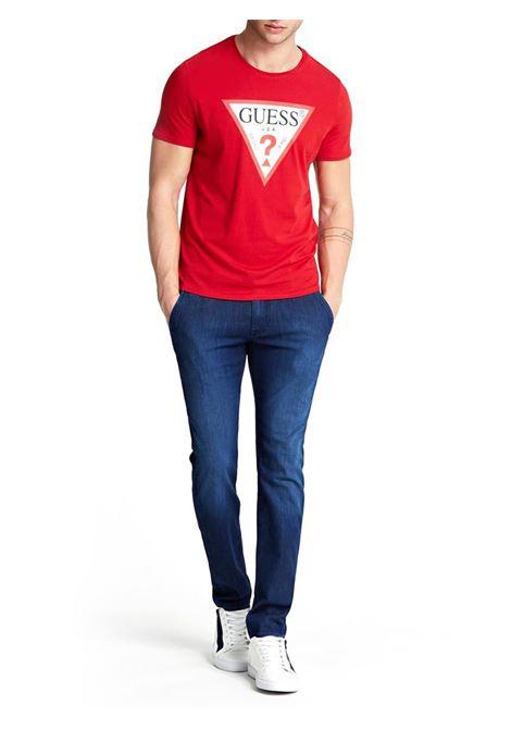 T-SHIRT CON LOGO TRIANGOLO GUESS | T-shirt | M01I71I3Z00TLRDTULIPRED