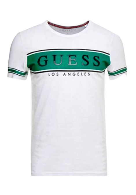 T-SHIRT CON LOGO FRONTALE GUESS | T-shirt | M01I84K8HM0S07AWHITEANDSTRIPEGRE