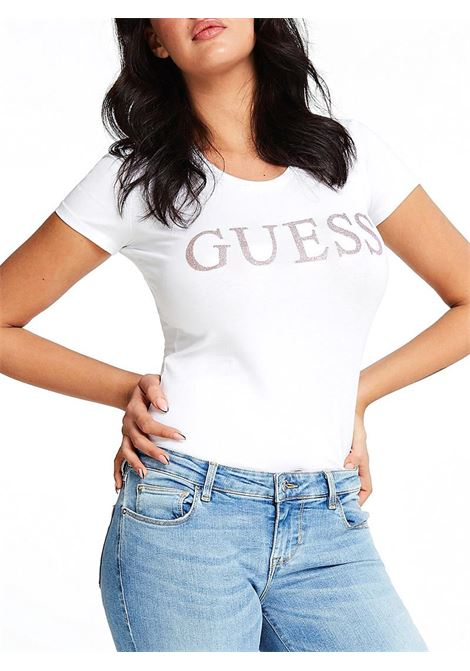 T-SHIRT LOGO FRONTALE GUESS | T-shirt | W01I74J1300TWHTBLANCPUR