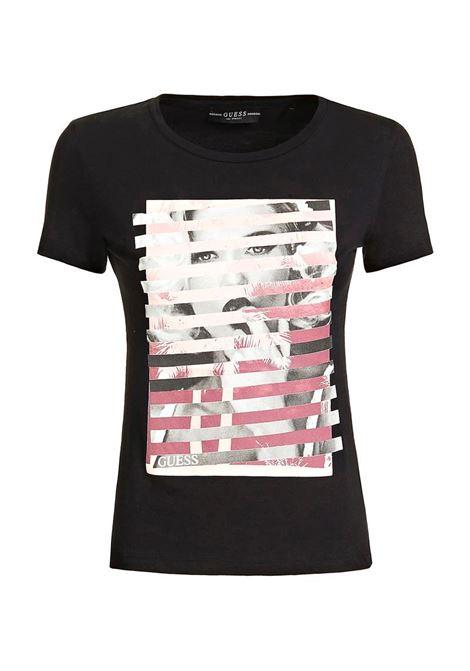 T-SHIRT STAMPA PIAZZATA GUESS | T-shirt | W0GI40K46D0JBLKBLACK