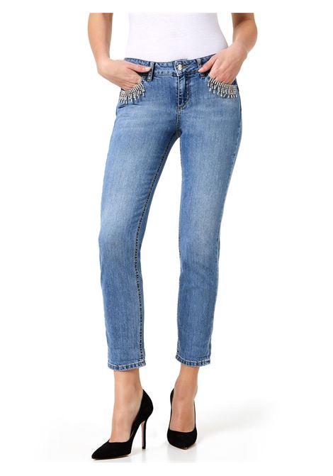 JEANS CROPPED CON CASTONI GIOIELLO LIU JO BLUE DENIM | Jeans | UA0006D310677858DENBLUEEXIGENTWASH