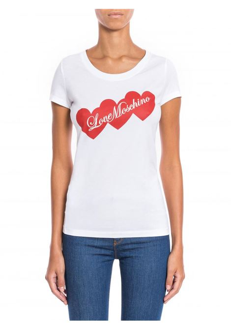T-SHIRT HEARTS LOVE MOSCHINO | T-shirt | W4B195EE1698A00OPTICALWHITE