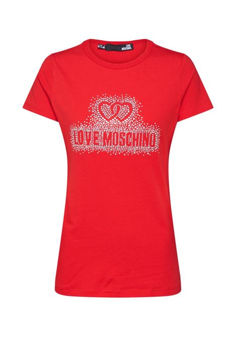 T-SHIRT LOGO CORE LOVE MOSCHINO | T-shirt | W4F7360E1698O95RED