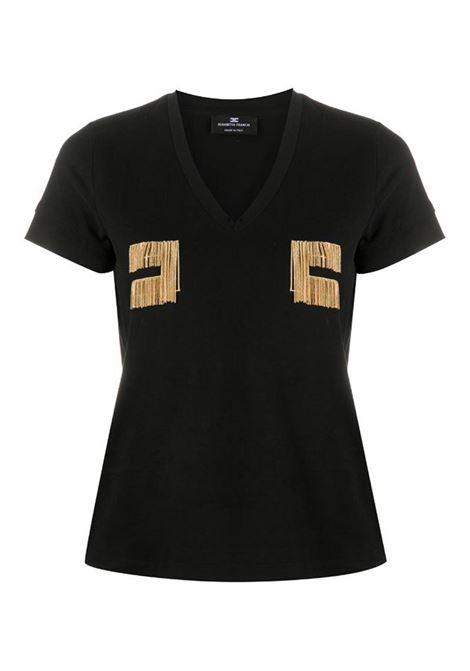 T-SHIRT CON LOGO RICAMATO IN ORO LIGHT ELISABETTA FRANCHI | T-shirt | MA15606E2110NERO