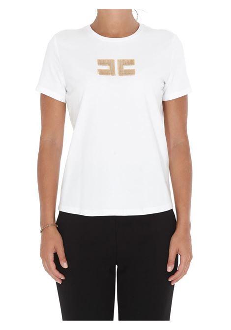 T-SHIRT CON LOGO RICAMINATO ELISABETTA FRANCHI | T-shirt | MA15906E2270GESSO