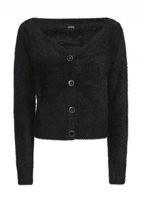 CARDIGAN SCOLLO AV GUESS | Cardigan | W0BR84Z2740A996BLACK