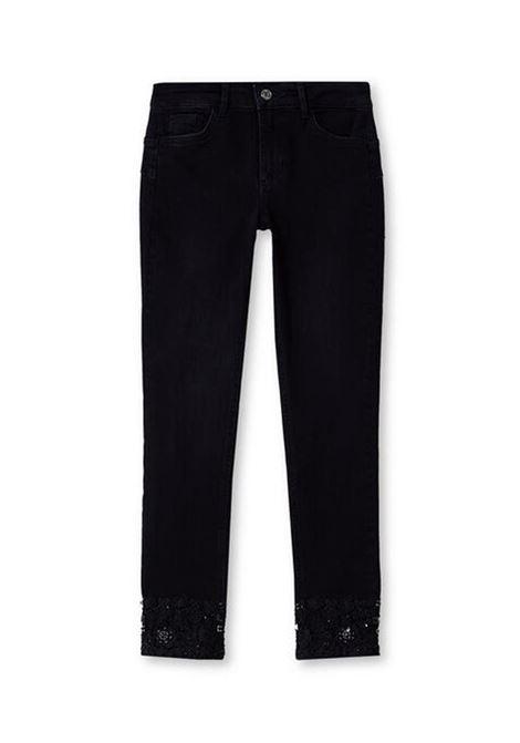 JEANS SKINNY CON PIZZO E CASTONI LIU JO BLUE DENIM | Jeans | UF0001D412887249DENBLACKLYNSWASH