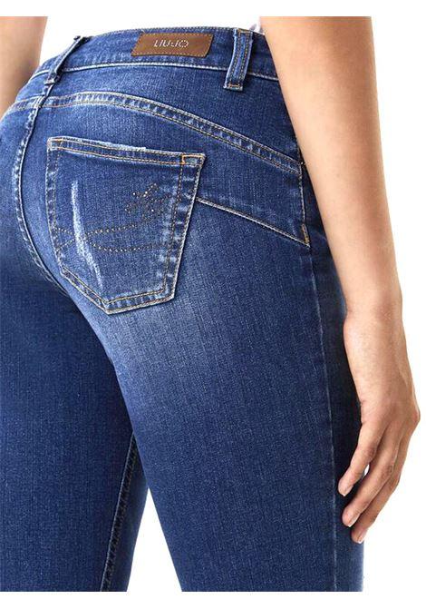 JEANS BOOTCUT CON STRASS LIU JO BLUE DENIM | Jeans | UF0025D451078098DENBLUESLAIMER