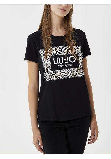 T-SHIRT CON STAMPA E APPLICAZIONI LIU JO JEANS | T-shirt | WF0128J500322222NERO