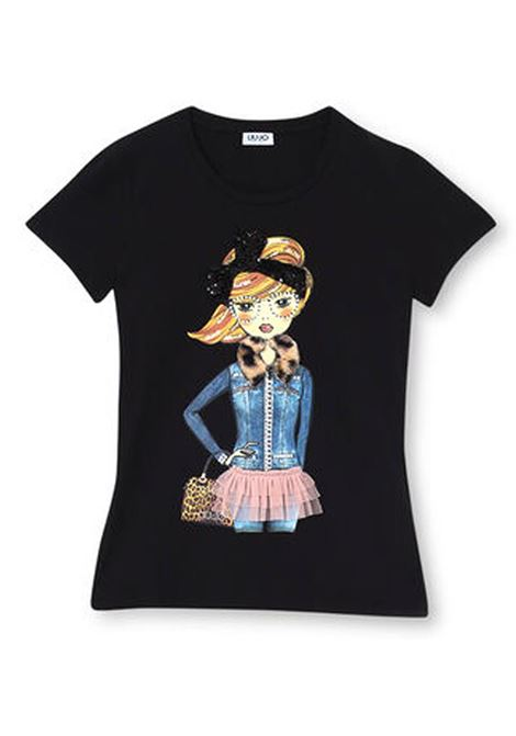T-SHIRT CON STAMPA ED APPLICAZIONI LIU JO JEANS | T-shirt | WF0531J5003T9359NERODENIMGIRL
