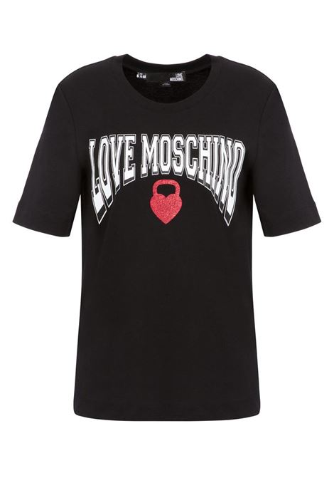 T-SHIRT IN JERSEY KETTLEBELL HEART LOVE MOSCHINO | Maglia | W4F152HM3876C74BLACK
