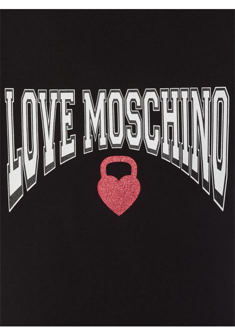 T-SHIRT IN JERSEY KETTLEBELL HEART LOVE MOSCHINO | T-shirt | W4F152HM3876C74BLACK