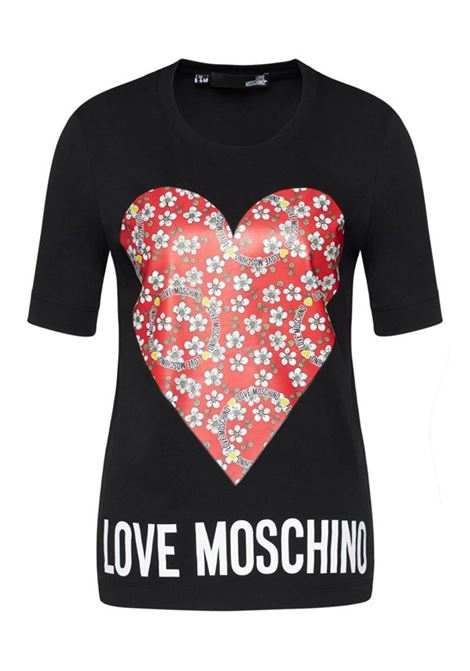 T-SHIRT IN JERSEY FLOWERY HEART LOVE MOSCHINO | Maglia | W4F152LM3876C74BLACK