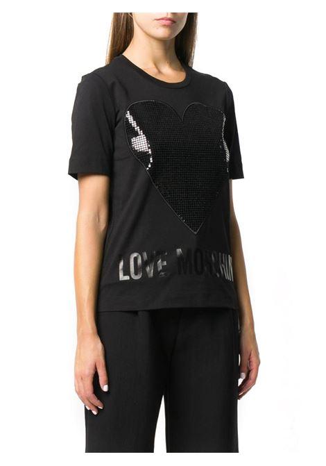 T-SHIRT CON STAMPA LOGO LOVE MOSCHINO | Maglia | W4F152QM38764050LAMINANERO