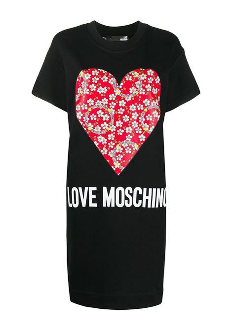 ABITO T-SHIRT CON STAMPA LOVE MOSCHINO | Abito | W5B1104M4055C74BLACK