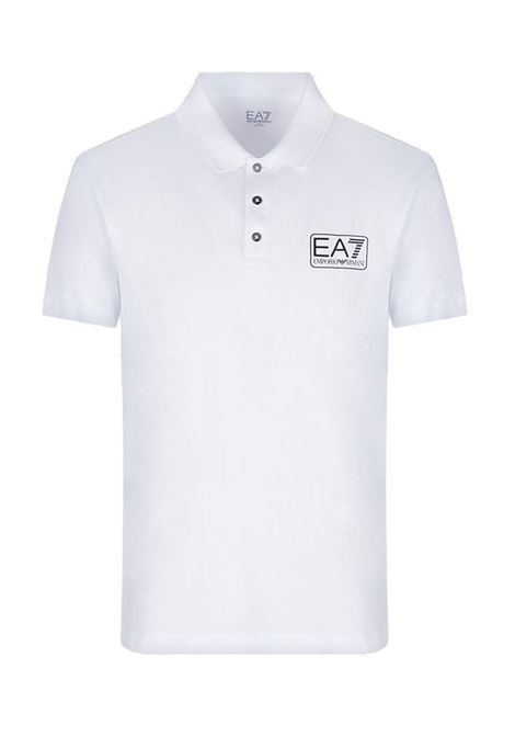 POLO IN PIQUET CON LOGO E.A. 7 | Polo | 8NPF12PJNQZ1100WHITE